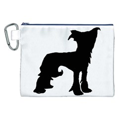 Chinese Crested Silo Black Canvas Cosmetic Bag (XXL)