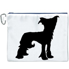 Chinese Crested Silo Black Canvas Cosmetic Bag (XXXL)