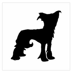 Chinese Crested Silo Black Large Satin Scarf (Square)