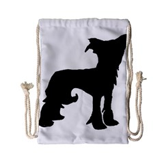 Chinese Crested Silo Black Drawstring Bag (Small)