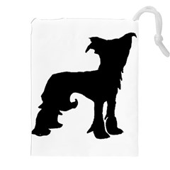 Chinese Crested Silo Black Drawstring Pouches (XXL)