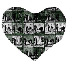 Comic book  Large 19  Premium Flano Heart Shape Cushions