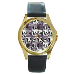 Comic book  Round Gold Metal Watch