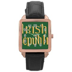 The Irish Republic Flag (1916, 1919-1922) Rose Gold Leather Watch