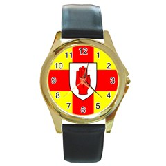 Flag of the Province of Ulster  Round Gold Metal Watch