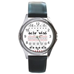 Ugly Christmas Humping Round Metal Watch