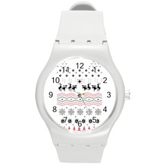 Ugly Christmas Humping Round Plastic Sport Watch (M)