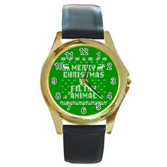 Ugly Christmas Sweater Round Gold Metal Watch
