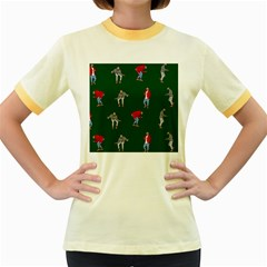 Drake Ugly Holiday Christmas Women s Fitted Ringer T-Shirts