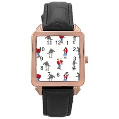 Drake Ugly Holiday Christmas Rose Gold Leather Watch