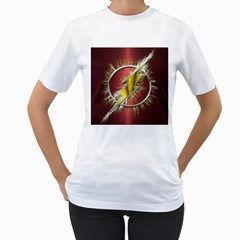 Flash Flashy Logo Women s T-Shirt (White) (Two Sided)