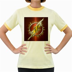 Flash Flashy Logo Women s Fitted Ringer T-Shirts