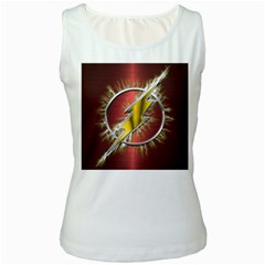 Flash Flashy Logo Women s White Tank Top