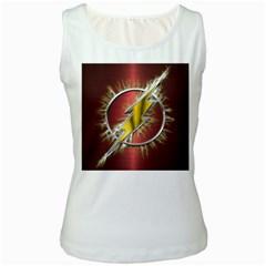 Flash Flashy Logo Women s White Tank Top