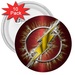 Flash Flashy Logo 3  Buttons (10 pack)