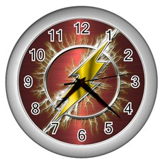 Flash Flashy Logo Wall Clocks (Silver)