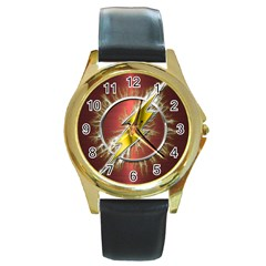Flash Flashy Logo Round Gold Metal Watch
