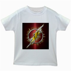 Flash Flashy Logo Kids White T Shirts