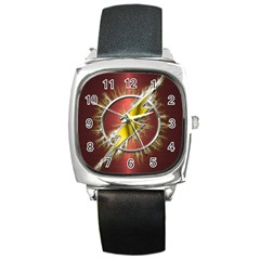 Flash Flashy Logo Square Metal Watch