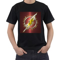 Flash Flashy Logo Men s T-Shirt (Black) (Two Sided)