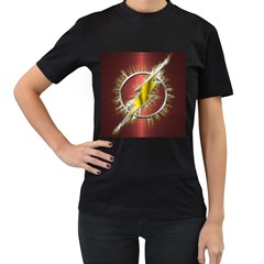 Flash Flashy Logo Women s T-Shirt (Black) (Two Sided)