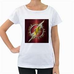 Flash Flashy Logo Women s Loose-Fit T-Shirt (White)