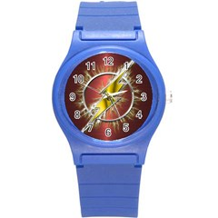 Flash Flashy Logo Round Plastic Sport Watch (s)