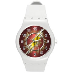 Flash Flashy Logo Round Plastic Sport Watch (m)