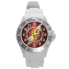 Flash Flashy Logo Round Plastic Sport Watch (L)