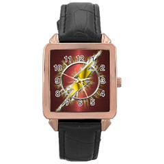 Flash Flashy Logo Rose Gold Leather Watch