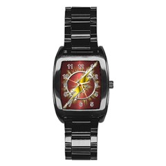 Flash Flashy Logo Stainless Steel Barrel Watch