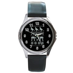 Holiday Party Attire Ugly Christmas Black Background Round Metal Watch