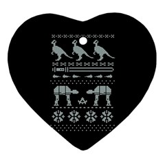 Holiday Party Attire Ugly Christmas Black Background Ornament (Heart)