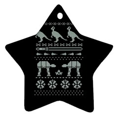 Holiday Party Attire Ugly Christmas Black Background Ornament (Star)