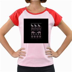 Holiday Party Attire Ugly Christmas Black Background Women s Cap Sleeve T-Shirt