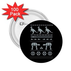 Holiday Party Attire Ugly Christmas Black Background 2.25  Buttons (100 pack)
