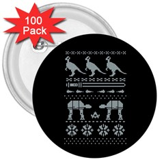 Holiday Party Attire Ugly Christmas Black Background 3  Buttons (100 pack)