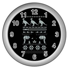 Holiday Party Attire Ugly Christmas Black Background Wall Clocks (Silver)