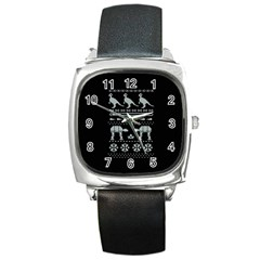 Holiday Party Attire Ugly Christmas Black Background Square Metal Watch