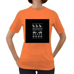Holiday Party Attire Ugly Christmas Black Background Women s Dark T-Shirt