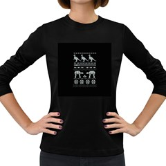 Holiday Party Attire Ugly Christmas Black Background Women s Long Sleeve Dark T Shirts