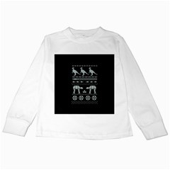 Holiday Party Attire Ugly Christmas Black Background Kids Long Sleeve T-Shirts