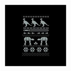 Holiday Party Attire Ugly Christmas Black Background Medium Glasses Cloth (2-Side)