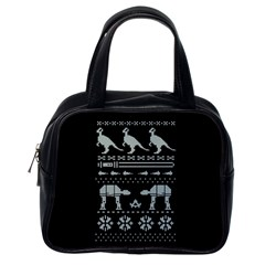 Holiday Party Attire Ugly Christmas Black Background Classic Handbags (one Side)