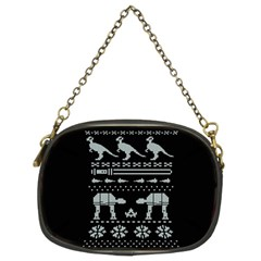 Holiday Party Attire Ugly Christmas Black Background Chain Purses (Two Sides)