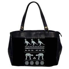 Holiday Party Attire Ugly Christmas Black Background Office Handbags (2 Sides)
