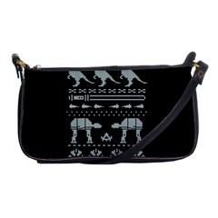 Holiday Party Attire Ugly Christmas Black Background Shoulder Clutch Bags