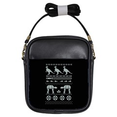 Holiday Party Attire Ugly Christmas Black Background Girls Sling Bags