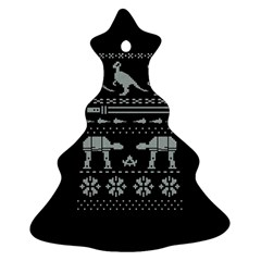 Holiday Party Attire Ugly Christmas Black Background Ornament (Christmas Tree)