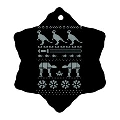 Holiday Party Attire Ugly Christmas Black Background Snowflake Ornament (Two Sides)